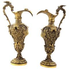 19th Century Pair of Italian Renaissance Revival Cast Gilt Bronze Ewers