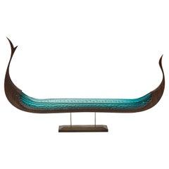 Konge, a Unique Sculpture in Jade Glass & Oak by Backhaus & Brown and Egeværk
