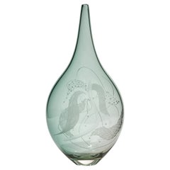 Mariniere Vase II, Unique Celadon Engraved Glass Vessel by Heather Gillespie