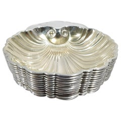 Set of 12 Gorham Midcentury Sterling Silver Scallop Shell Nut Dishes