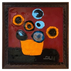 Copper Enamel Art Abstract Vibrant Modern Flowers in a Vase by Callado Mexico DF
