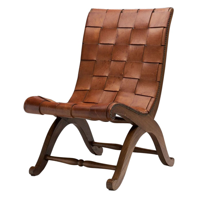 Mid-Century Spanish Valenti Leather Chair by Pierre Lottier, Spain, 1950s For Sale