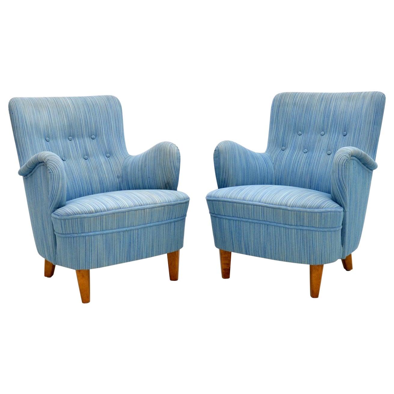 Pair of Swedish Vintage Armchairs by Carl Malmsten