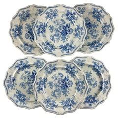 Jones & Walley Blue Amaranthine Flowers English Transferware Dinner Plates, S/6