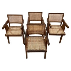 Set of Four Pierre Jeanneret Office Chairs with Rare Stencil Marks