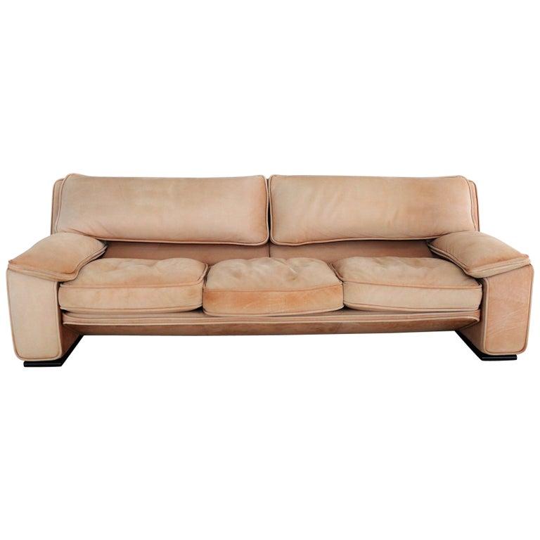 Italian Midcentury Vintage Nappa Leather Sofa by Ferruccio Brunati, 1970s For Sale