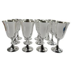 Set of 12 American Modern Sterling Silver Goblets by Manchester
