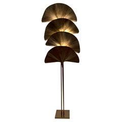 """Tommaso Barbi Mid-Century Modern Italian Brass Floor Lamp """"Ginkgo"""", 1970s"""