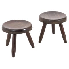 Charlotte Perriand Two Berger Stools in Wood 1950s