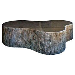 New Design Coffee Table in Bronze Mirror Thick, with Polished Edge