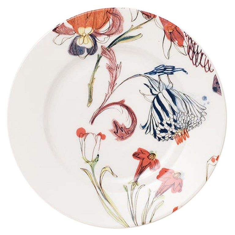 The Grandma's Garden, Contemporary Porcelain Bread Plate with Floral Design