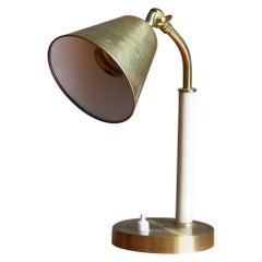 Swedish, Small Desk Light, Brass, Lacquered Metal, Sweden, 1930s