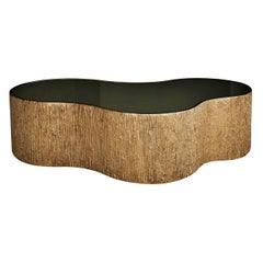 New Design Coffee Table in Bronze Mirror, with Polished Edge Gold