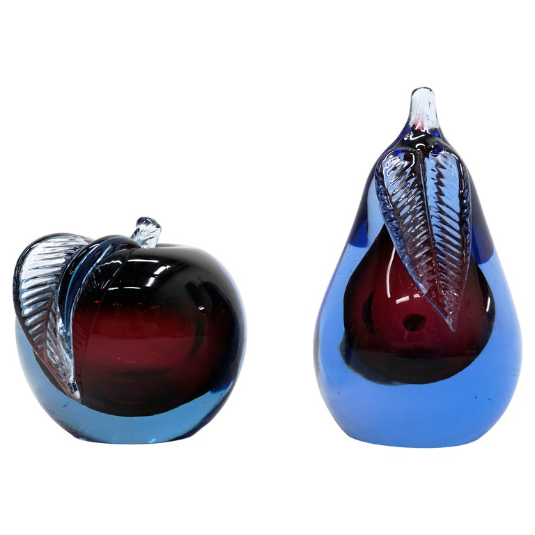 Murano Art Glass Apple and Pear, Hand Blown, Blue, Purple, Excellent Condition For Sale