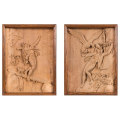 19th Century Pair of Carved Relief Limewood Shadow Boxes