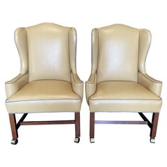 Stylish Chic Pair of Beige & Teal George III Style Leather Snakeskin Wing Chairs