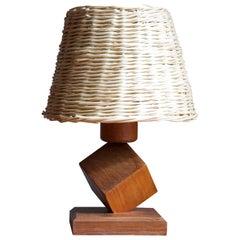 Swedish, Table Lamp, Teak, Rattan, Sweden, 1960s