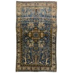 Antique Persian Kerman Handmade Medallion Blue Distressed Wool Rug