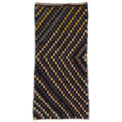 Vintage Turkish Tulu Checkerboard Pattern Rug with MCM Bauhaus Cubism Style
