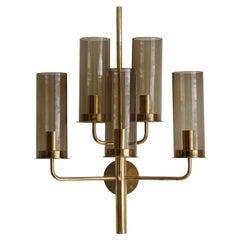 Hans-Agne Jakobsson, Sizable Wall Light, Brass, Glass, Sweden, c. 1960s