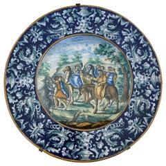 Impressive 19th Century Large Italian Majolica Hand Painted Plate