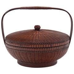 Chinese Smoked Bamboo Fruit Basket, c. 1900