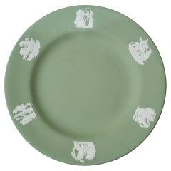 Antique Set of 12 Sage Green Wedgwood Jasperware Dessert Plates