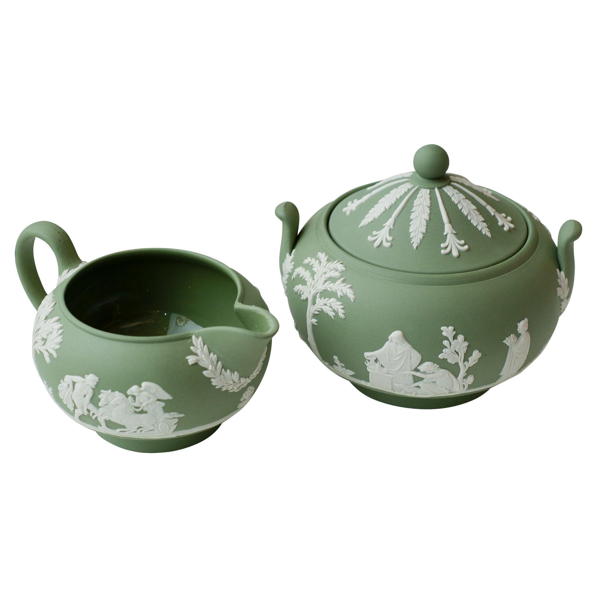 Antique Set of Sage Green Wedgwood Jasperware Sugar Bowl and Creamer