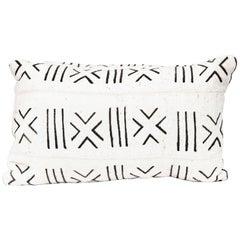 Handmade African Mud Cloth Fabric Lumbar Pillow With Down Fill