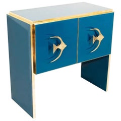 Modern Italian Custom Design Brass Edged & Fish Marine Decor Teal Blue Cabinet