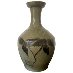 Korean Celadon Bottle Vase with Slip Decoration Goryeo Dynasty