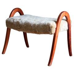 Swedish Designer, Organic Stool, Stained Wood, Sheepskin, Sweden, 1940s