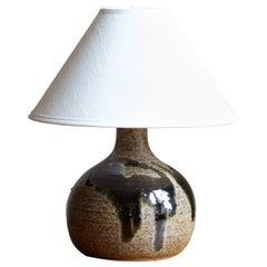 Swedish, Studio Table Lamp, Glazed Stoneware, Sweden, 1960s