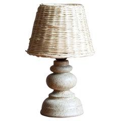 Bruno Karlsson, Small Table Lamp, Stoneware, Rattan, Studio Ego, Sweden, 1960s