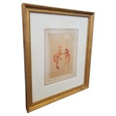 Henri DE Toulouse Lautrec Lithograph Depicting Circus Act in Gold Gilt Frame