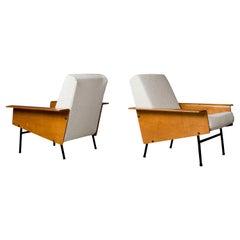 Rare Pair Pierre Guariche, G10 Lounge Chairs, 1953