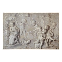 18th Century Grisaille Painting of Putti Attributed to Piat Joseph Sauvage