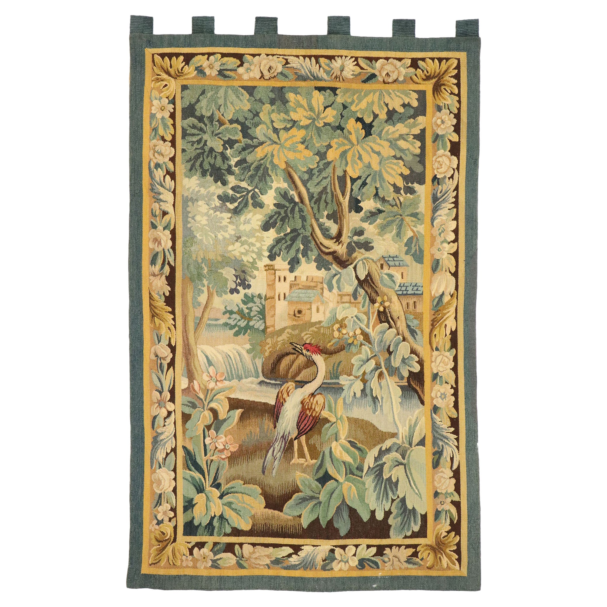 Antique French Aubusson Verdure Tapestry