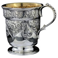 Antique Victorian Sterling Silver Chased Mug, Charles Edwards