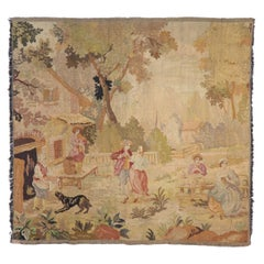 Antique French Aubusson Pastoral Tapestry with Louis XV Style, La Danse