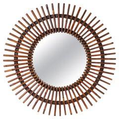 Mid-Century Bamboo Sun Ray Wall Mirror