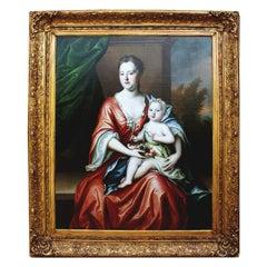 18th Century Oil on Canvas Mother & Child Attr Michael Dahl