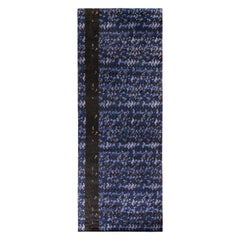 Rug & Kilim's Scandinavian Style Rug all over Blue, Black Geometric Pattern