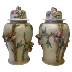 Monumental Chinese Ginger Jars with Fruit and Faux Bois Foliate, Pair