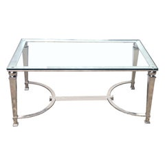 A French Neoclassical Style Chrome Rectangular Coffee Table with Glass Top
