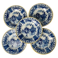 Set of Five Blue and White Delft Dishes Hand-Painted 18th Century Circa 1780