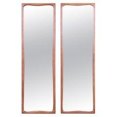 Thomasville Mid-Century Modern Sculpted Walnut Framed Tall Mirrors, Pair