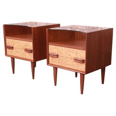 Mid-Century Modern Walnut and Burl Wood Nightstands, Newly Refinished