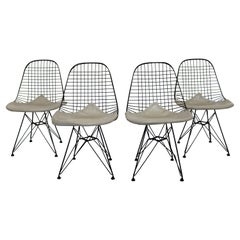 Mid-Century Modern Set 4 Eames Black Wire Bikini Side Chairs Eiffel Tower Bases