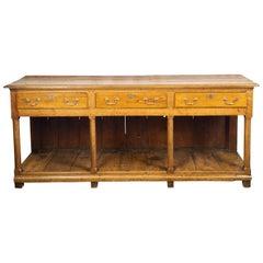 English 1820s Georgian Dresser Base with Three Drawers and Pot Board Shelf